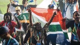 La délégation d'Afrique du Sud, lors de la céromonie d'ouverture des 10e Gay Games à Paris, le 4 août 2018.