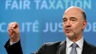 Le Commissaire européen aux Affaires économiques, Pierre Moscovici, s'est félicité de ce compromis franco-allemand. Ici, alors qu'il présentait le projet de taxation des Gafa à Bruxelles, le 21 mars 2018.