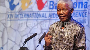 Nelson Mandela at the 14th international Aids conference in Barcelone in 2002