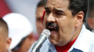 2016年5月31日,委內瑞拉總統馬杜羅在首都加拉加斯參加支持者集會活動。