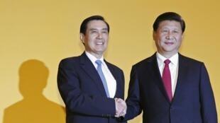 Os presidentes da China, Xi Jinping, e deTaiwan,  Ma Ying-jeou, durante a cúpula de Cingapura