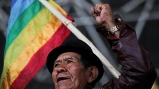 Un indien équatorien lors d'une assemblée indigène à Quito, le 10 octobre.
