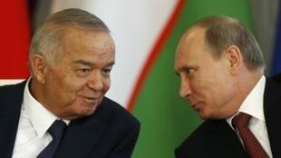 Президент Узбекистана Ислам Каримов с Владимиром Путиным в Кремле 15/04/2013