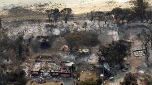 Vue aérienne de Dunalley, près d'Hobart, en Tasmanie, le 5 janvier 2013. Près de 100 maisons ont été détruites sur la petite île australienne.