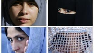 Элементы мусульманской женской одежды во французской терминологии: hijab (вверху слева), niqab - никаб (вверху справа), tchador - чадра (внизу слева), burqa- паранджа (внизу справа).