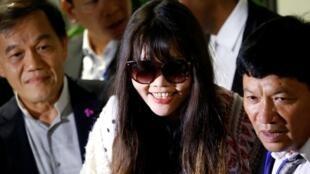 Đoàn Thị Hương, người duy nhất bị kết án trong vụ ám sát Kim Jong Nam, tại sân bay Nội Bài, Hà Nội, ngày 03/05/2019.