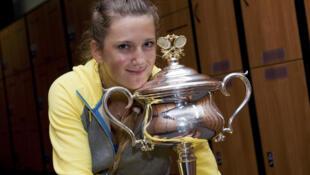 Виктория Азаренко после первой победы на Открытом чемпионате Австралии по теннису над Марией Шараповой 28 января 2012.