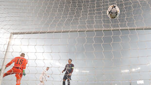 O primeiro gol do Real Madrid, marcado por Cristiano Ronaldo.