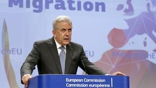 The EC's Migration and Home Affairs Commissioner Dimitris Avramopoulos, seen here in May 2015, has announced a 20-million-euro instalment to France