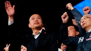 Le candidat du Kuomintang Han Kuo-yu lors de son dernier meeting à Taipei le 9 janvier 2020.
