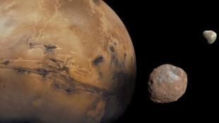 Phobos and Deimos, the Martian moons