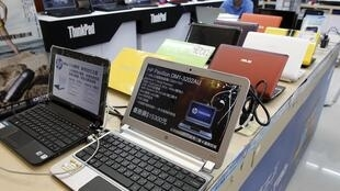 Laptops at a computer mall in Taipei