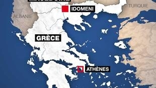 Mapa da Grécia e Macedónia do norte com fronteira para Macedónia ex-jugoslava