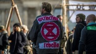 Manifestation d'Extinction Rebellion, le 6 octobre 2019, à Berlin.