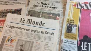 Primeiras páginas dos diários franceses 1/08/2016