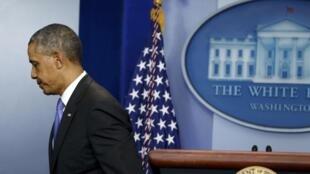 O presidente Barack Obama depois da coletiva de imprensa na Casa Branca