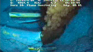 BP's live video feed shows oil gushing from the Gulf of Mexico oil well on 26 May.