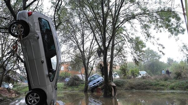 After the overnight flash floods in Grabels near Montpellier
