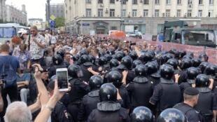 Cảnh sát Nga được huy động đông đảo nhằm ngăn chận cuộc biểu tình ngày 27/07/2019 tại Matxcơva.