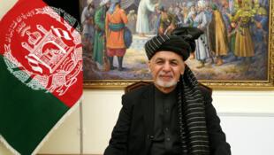 O  Presidente do Afeganistão Ashraf Ghani  em Cabul no dia 28 de Janeiro de 2019.