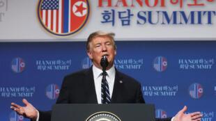 Tổng thống Mỹ họp báo tại Hà Nội sau thượng đỉnh với Bắc Triều Tiên, ngày 28/02/2019.