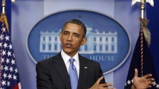 O presidente americano Barack Obama durante coletiva de imprensa desta terça-feira na Casa Branca, em Washington.