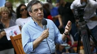 Francois Fillon, former French prime minister, member of The Republicans political party and 2017 presidential candidate of the French centre-right, gives a television interview while attending a picnic in Reunion.