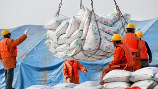 Trabalhadores no porto de Nantong na provícia de Jiangsu descarregam produtos importados. 22/03/18