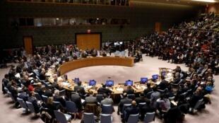 Conselho de segurança da ONU, reunido, a 8 de dezembro, em Nova Iorque, para criticar Estados Unidos que escolhe Jerusalém para sua embaixada
