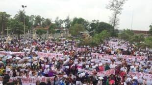 Giáo dân giáo hạt Văn Hạnh, thuộc giáo phận Vinh, Hà Tĩnh biểu tình ngày 17/06/2018 phản đối dự Luật Đặc khu và Luật An ninh mạng.