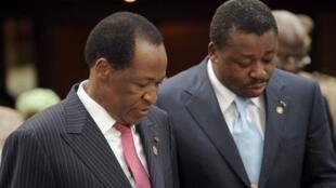 Blaise Compaoré et Faure Gnassingbé en juin 2009 à Abuja.