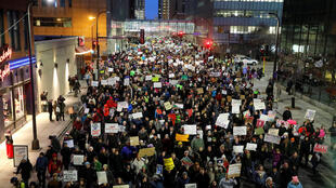 People gather outside the Federal Building to protest against U.S. President Donald Trump's executive order travel ban in Minneapolis, Minnesota, U.S. January 31, 2017.