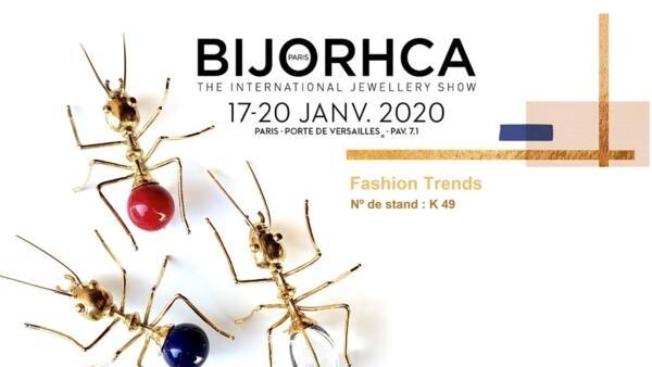 Afiche de Bijorhca ilustrado con broches del diseñador portugués, Bruno Da Rocha. París, enero de 2020.