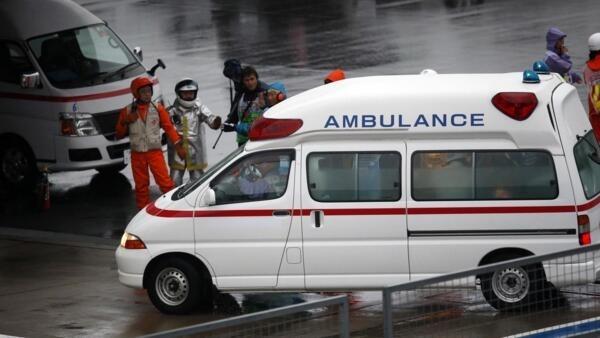 O francês Jules Bianchi, da Marussia, que sofreu um grave acidente a nove voltas do fim do GP do Japão de Fórmula 1 sendo levado para hospital.