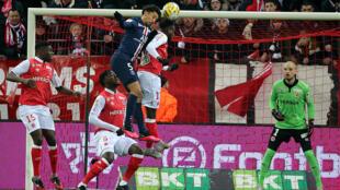 Marquinhos (PSG) marque un but contre Reims, le 22 janvier 2020.