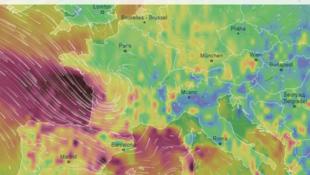 Карта шторма «Габриэль» по состоянию на вечер вторника 29.01.2019