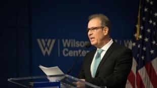 Ministro de Minas e Energia, almirante Bento Albuquer, em palestra no Brazil Institute do Woodrow Wilson International Center for Scholars, em Washington. Em 7 de março de 2019.