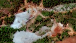 Cơ sở thử nghiệm hạt nhân Punggye-ri của Bắc Triều Tiên. Ảnh chụp từ vệ tinh DigitalGlobe ngày 23/05/2018.