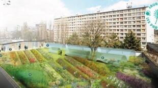 """Projeto """"Flore Urbaine"""", reservatório de Belleville no 20 distrito ao norte de Paris"""