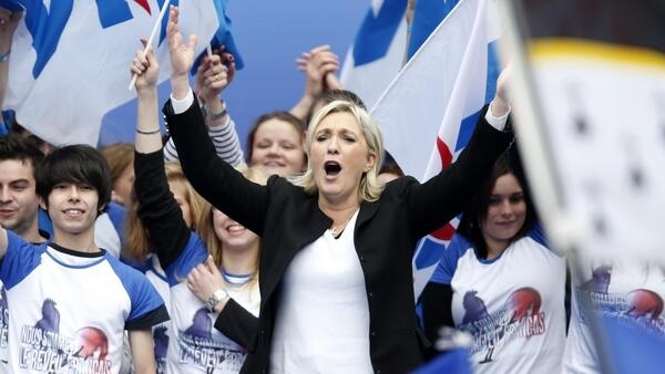 Front National leader Marine Le Pen speaks to the party's annual rally on May Day in Paris