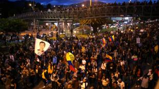 Manifestation en Colombie, 7ème jour du mouvement contre le gouvernement. Bogota, le 27 novembre 2019.