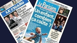 Capa dos jornais franceses Le Figaro e Le Parisien desta terça-feira, 19