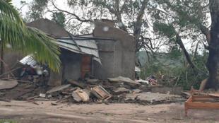 Habitações destruidas pelo ciclone Kenneth em Cabo Delgado, no norte de Moçambique.