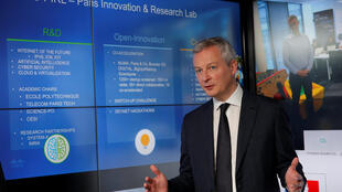 French Finance Minister Bruno Le Maire presents an annual report on foreign investment in France at the Paris headquarters of U.S. networks giant Cisco Systems.