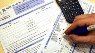 Formulaire des impôts pour la déclaration des revenus.