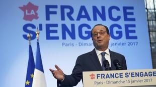 "French President Francois Hollande delivers a speech during a visit at a forum entitled ""La France s'engage"" dedicated to associations for social and solidarity projects of education, employment, environment and sports in Paris, France, January 15, 2017.5"