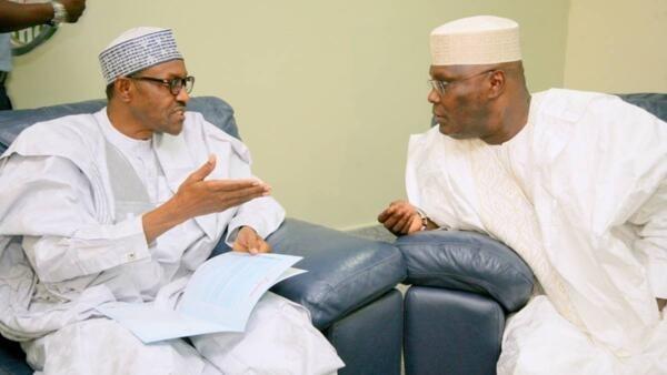 Shugaban Najeriya Muhammadu Buhari na APC da  Atiku Abubakar na PDP