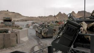Armoured vehicles on patrol in Afghanistan.