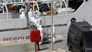 The bodies of the 24 victims of the latest shipwreck in the Mediterranean are taken ashore in Malta on Tuesday 20 April