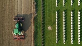 Un tracteur dans un champ à Anneux en France le 27 mars 2020.